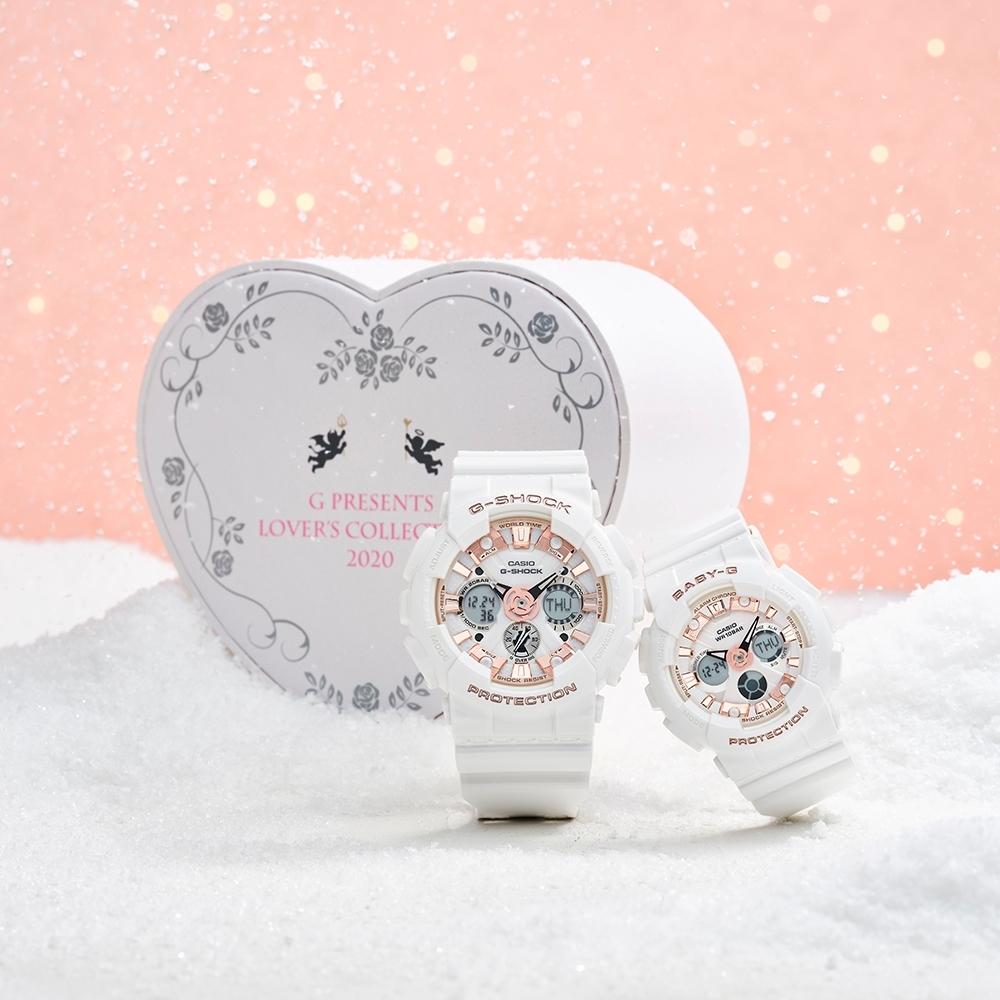 CASIO卡西歐 G-SHOCK&BABY-G 天使與惡魔 限量對錶 LOV-20A-7A_51.2/43.3mm