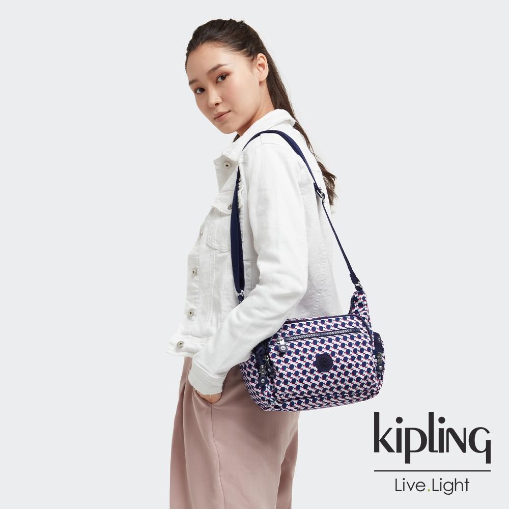 Kipling 典雅幾何印花多袋實用側背包-GABBIE S