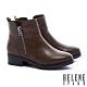 短靴 HELENE SPARK 個性百搭拉練造型皮革粗高跟短靴-咖 product thumbnail 1