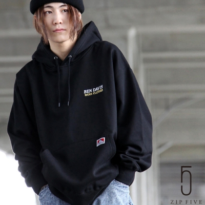 ZIP日本男裝 BEN DAVIS 復古風廣告印刷LOGO刺繡內刷毛連帽TEE  (6色)