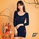 GIAT台灣製200D記憶熱機能美體發熱衣(八分袖)-午夜藍 product thumbnail 2