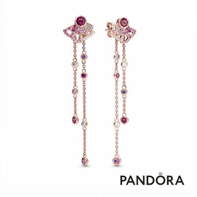 【Pandora官方直營】粉紅摺扇可拆式垂墜耳環