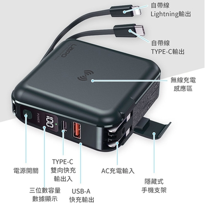 【Lapo】 all in 1 PD WT-01AW 多功能快充無線充電行動電源-輸出自帶線(原廠公司貨)-快