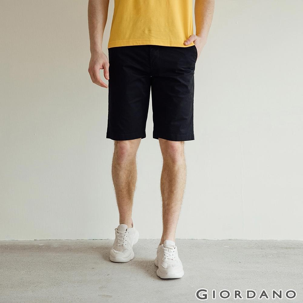 GIORDANO 男裝素色修身百慕達短褲-09 標誌黑