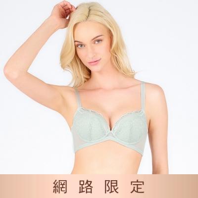 黛安芬-美型嚴選系列 蝴蝶美型包覆托高 B-E罩杯內衣 霧綠色