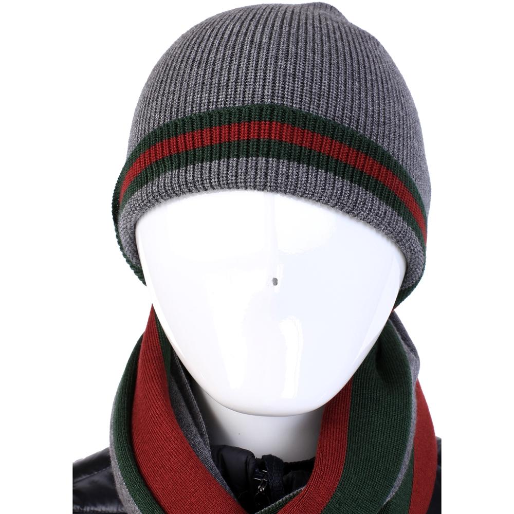 GUCCI 經典綠紅綠織帶反褶設計針織毛帽(灰色)