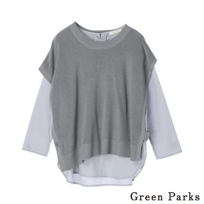 Green Parks 【SET ITEM】短袖圓領針織背心+素面長袖上衣