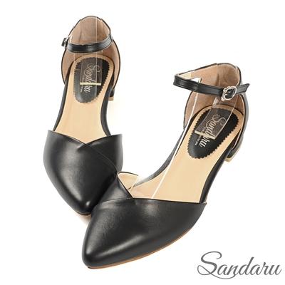 山打努SANDARU-尖頭鞋 優雅壓摺V字側扣平底鞋-黑