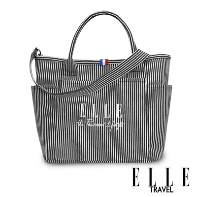ELLE TRAVEL-極簡風帆布手提/斜背托特包-線條 EL52372