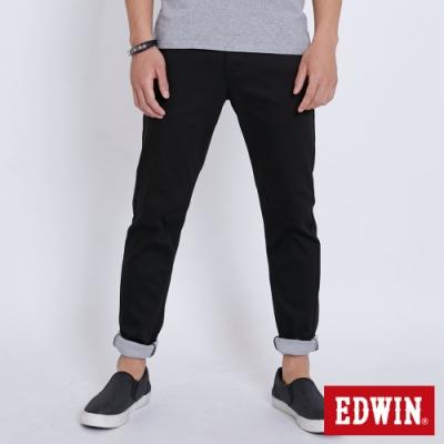 EDWIN 斜袋休閒COOL涼感 窄管牛仔褲-男-黑色