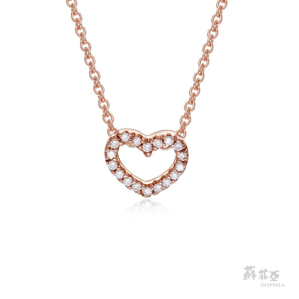 SOPHIA 蘇菲亞珠寶 - 滿分愛戀 14K玫瑰金 鑽石項鍊