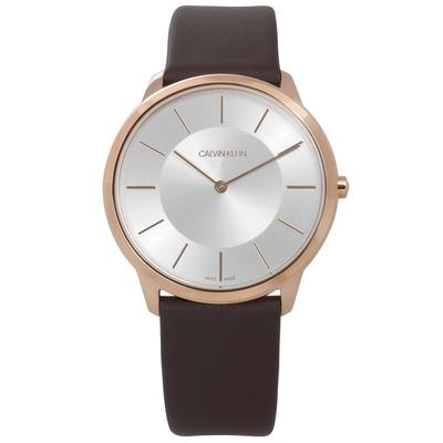 CK 時尚曼哈頓簡約風皮革腕錶-銀x玫瑰金框x深褐/39mm