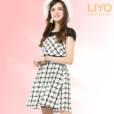 LIYO理優MIT洋裝格紋雪紡拼接洋裝(黑)