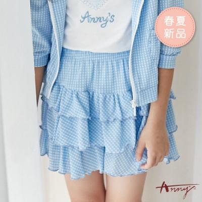 Annys安妮公主-小清新格紋春夏款層次蛋糕鬆緊裙褲*9354水藍