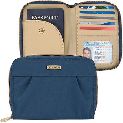 TRAVELON Signature摺紋拉鍊防護證件護照夾(藍)