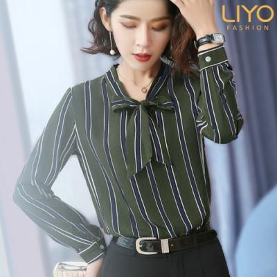 襯衫-LIYO理優-抗菌除臭條紋蝴蝶結綁帶顯瘦襯衫