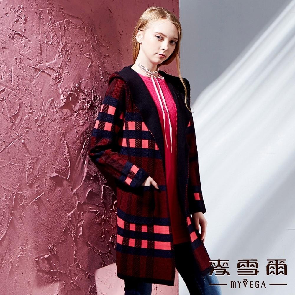 麥雪爾 保暖羊毛開襟針織連帽外套-紅藍格