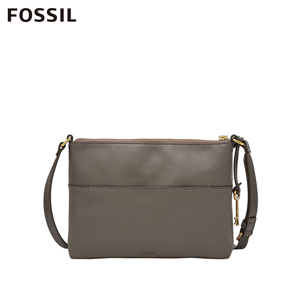 FOSSIL FIONA 真皮側背包-大象灰 ZB7266046