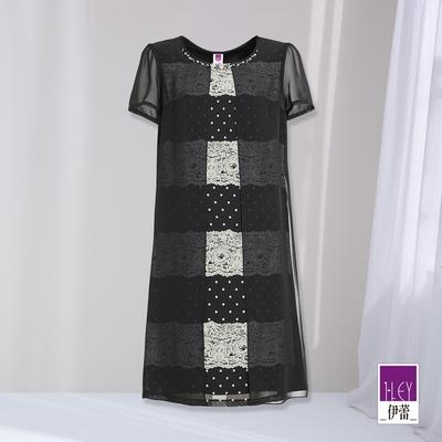 ILEY伊蕾 波點蕾絲印花拼接活片造型連身裙(黑 )1212037334