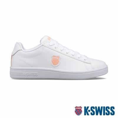 K-SWISS Court Shield時尚運動鞋-女-白/蜜桃橘