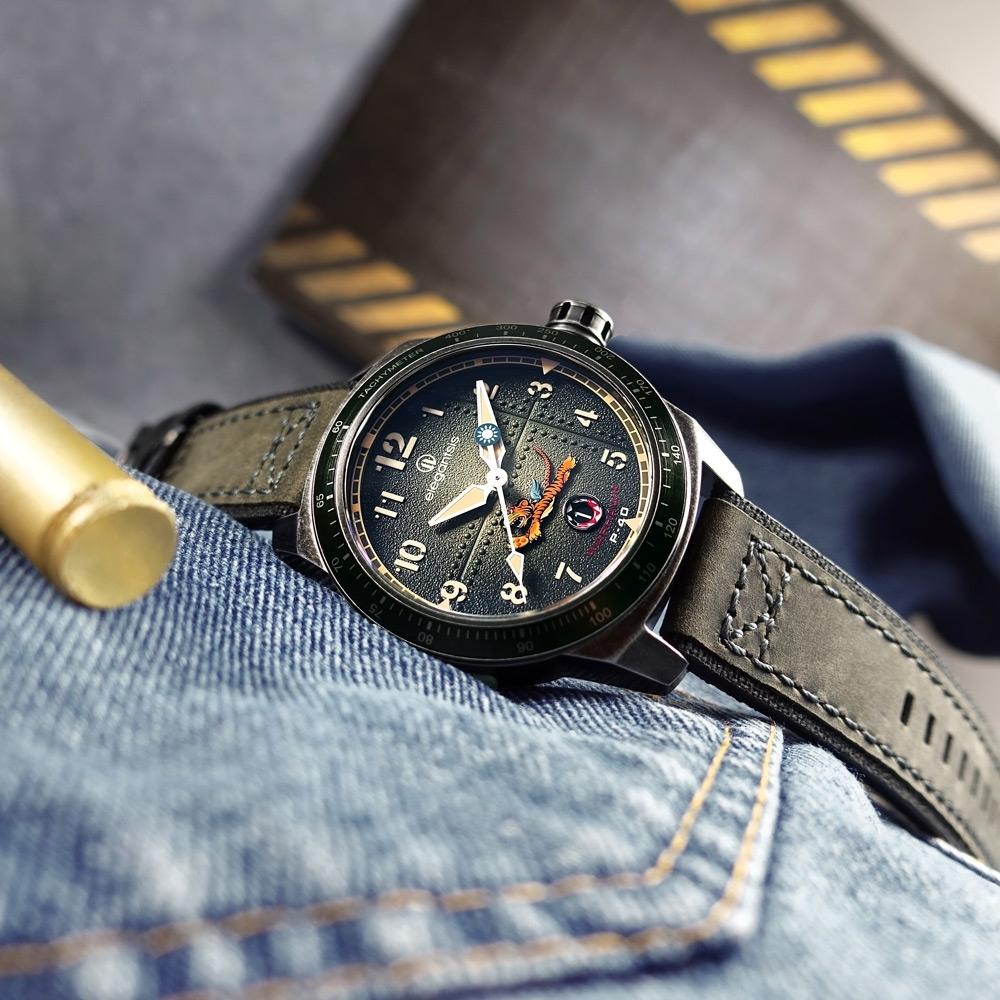 elegantsis 飛虎隊限量腕錶 義大利皮革帆布錶帶-墨綠色/45.5mm
