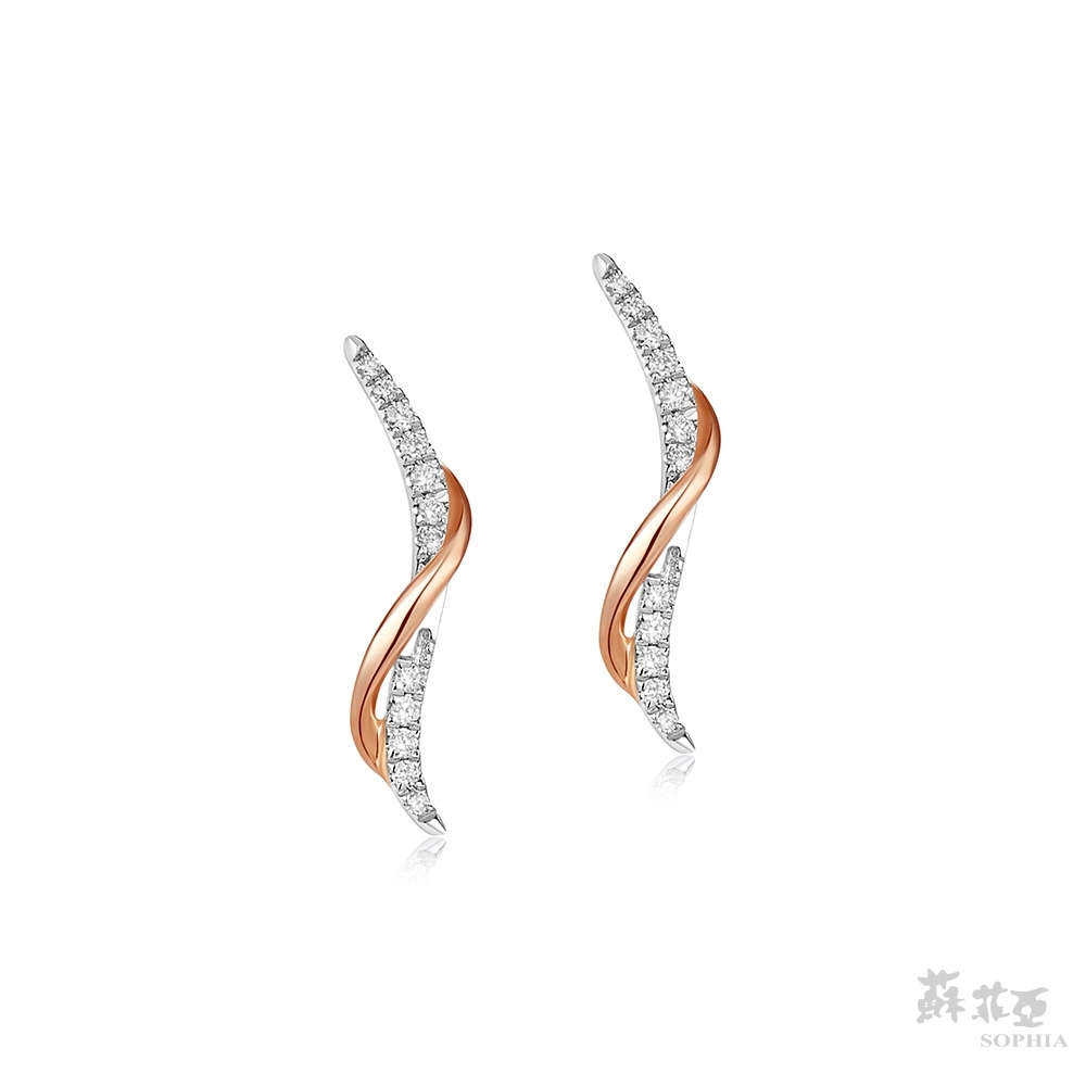 SOPHIA 蘇菲亞珠寶 - 艾菲絲 14K雙色(玫瑰金+白金) 鑽石耳環
