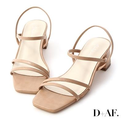 D+AF 粉彩夏日.一字斜帶方頭中跟涼鞋*粉