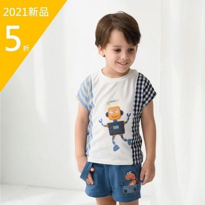 PIPPY活力機器人刺繡上衣-白