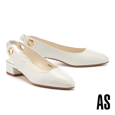 低跟鞋 AS 義式情調兩穿造型羊皮繫帶低跟鞋-白