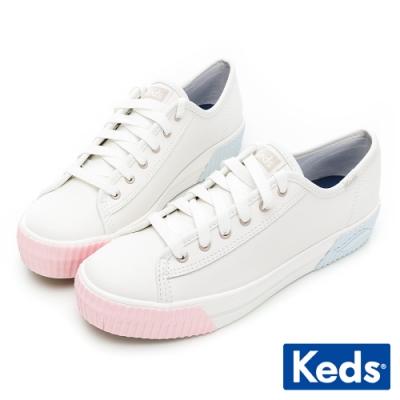 Keds TRIPLE KICK AMP 潮流Wave皮革厚底餅乾鞋-粉/藍