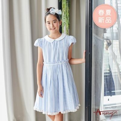 Annys安妮公主-活力直條紋小圓領拼接春夏款公主袖洋裝*9138水藍