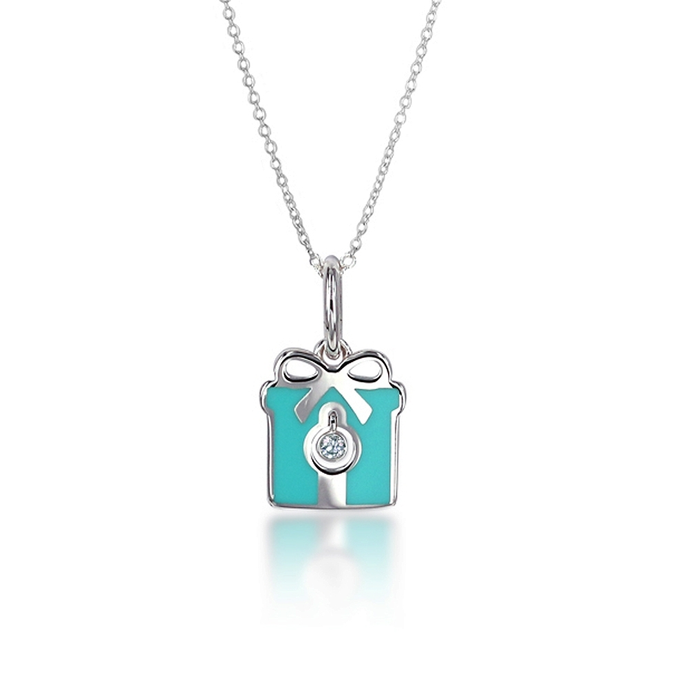 Tiffany&Co. 粉藍琺瑯鑲鑽石禮物盒純銀項鍊