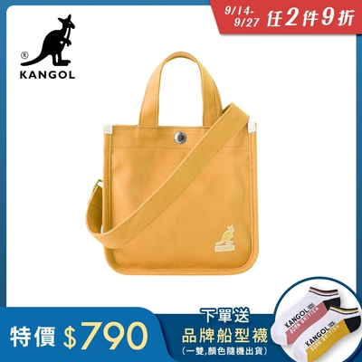 KANGOL 韓版極簡玩色-MINI帆布斜背小方包-鵝黃KGC1215