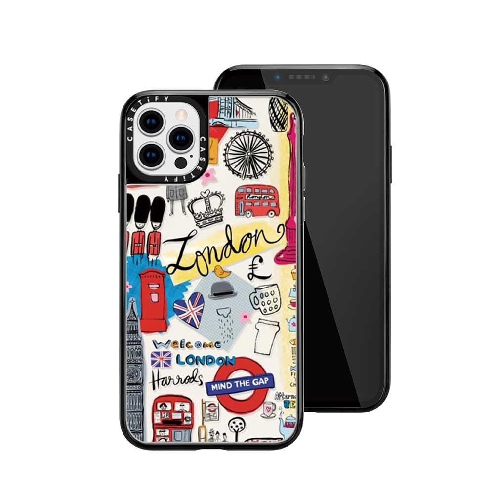 Casetify iPhone 12/12 Pro 輕量耐衝擊保護殼-倫敦印象(黑)