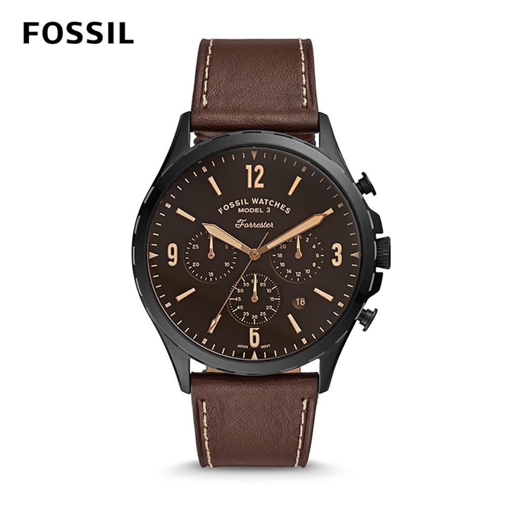 【FOSSIL】 FORRESTER CHRONO石英計時男錶-黑X咖色皮革錶帶 46MM FS5608