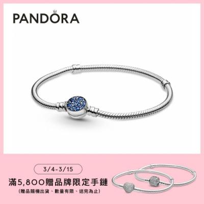 【Pandora官方直營】Pandora Moments 璀璨藍色圓扣蛇鏈