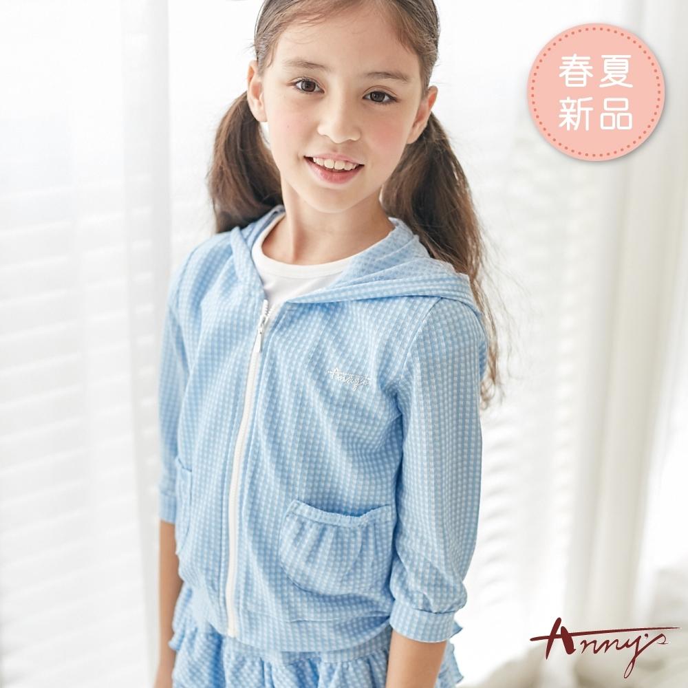 Annys安妮公主-小清新格紋春夏款連帽拉鍊小外套*9368水藍