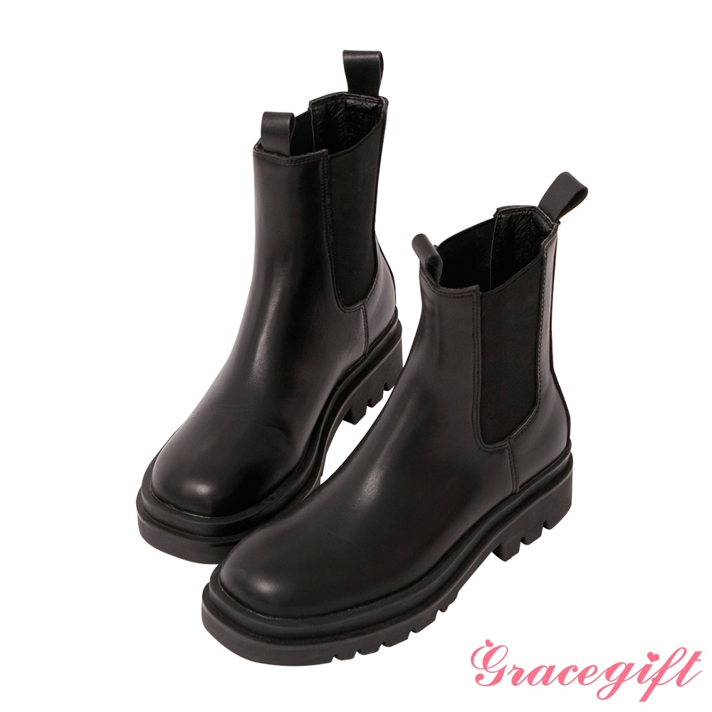 Grace gift-厚底切爾西低筒短靴 黑