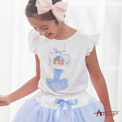 Annys安妮公主-百搭甜美氣質芭蕾女孩荷葉邊袖棉質上衣*8334藍