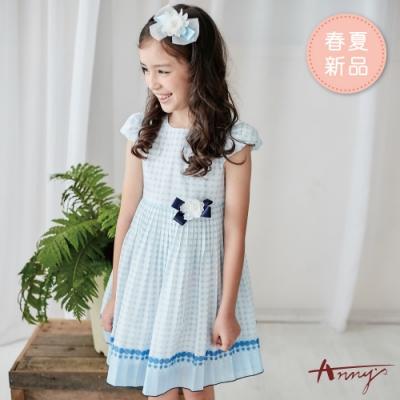 Annys安妮公主-白玉波點花朵蝴蝶結春夏款公主袖洋裝*9122水藍