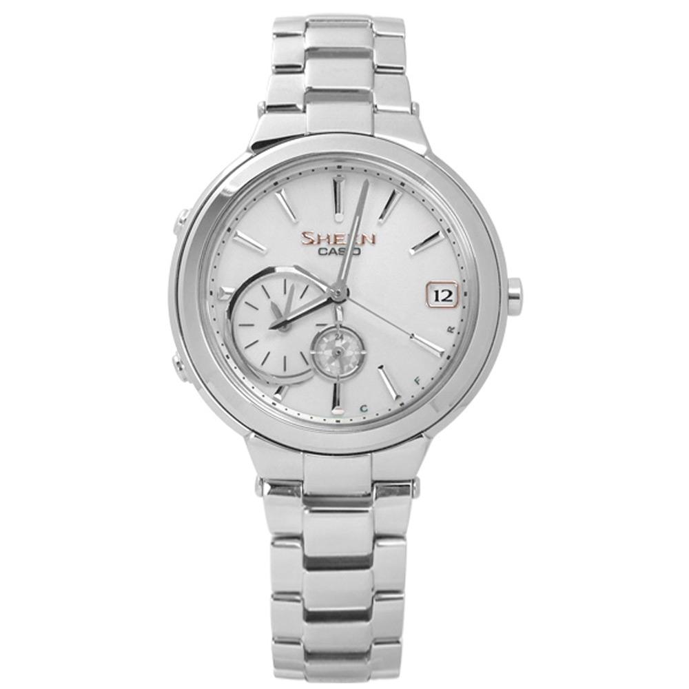 SHEEN CASIO 卡西歐 夢幻婉約 藍牙 太陽能 不鏽鋼手錶-銀色/35mm
