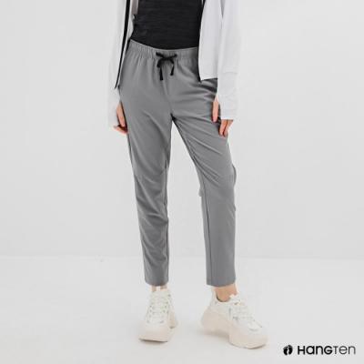 Hang Ten-女裝-恆溫多功能-REGULAR FIT標準四向彈力吸濕快乾抗曬撞色運動長褲-灰色