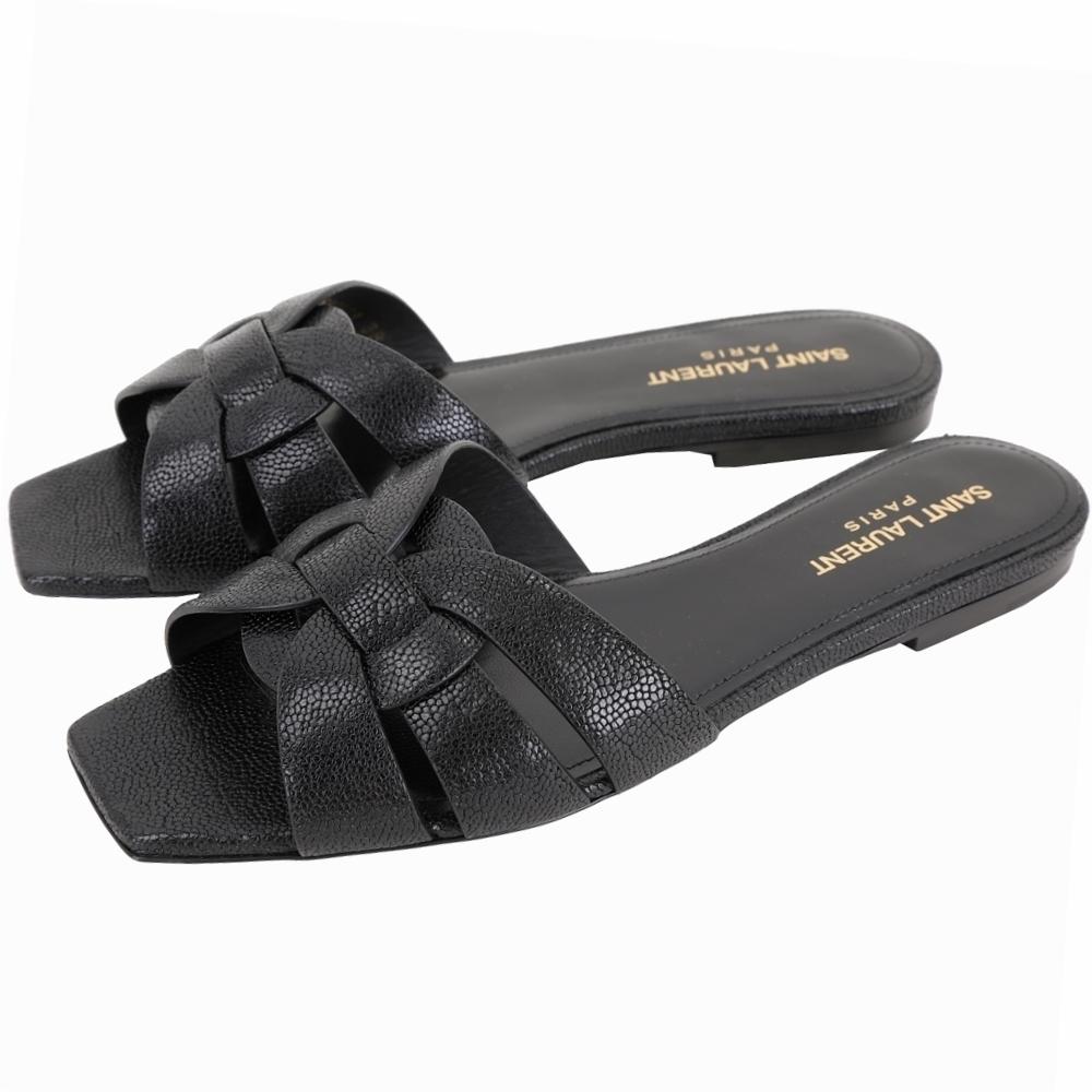 YSL Saint Laurent TRIBUTE 編織結飾平底涼拖鞋(黑色)