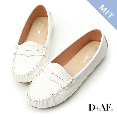 D+AF 悠活主張.MIT舒適莫卡辛豆豆鞋*白
