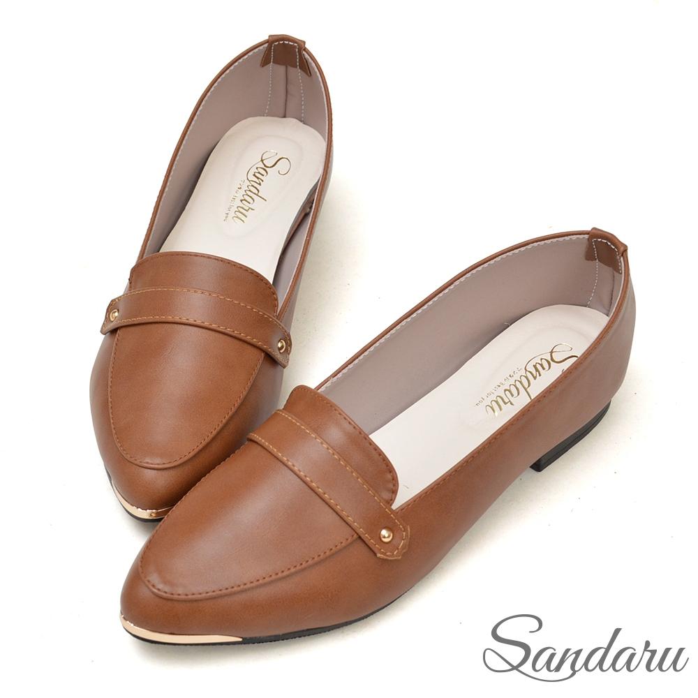山打努SANDARU-紳士鞋 MIT簡約金飾尖頭平底鞋-可可