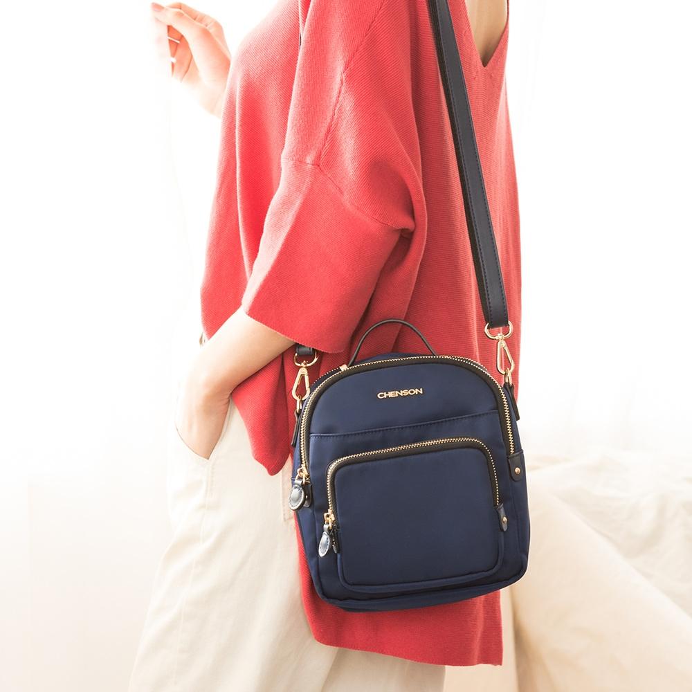 CHENSON 2夾層4口袋簡單外出斜背小物包/手機包 藍(CG83332-9)