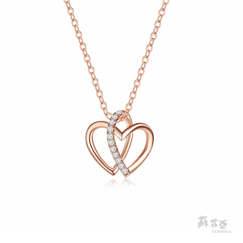 SOPHIA 蘇菲亞珠寶 - 心心相惜 14K雙色(玫瑰金+白金) 鑽石項鍊