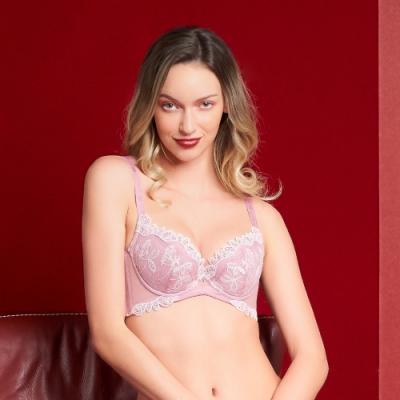 黛安芬-蝴蝶美型系列 包覆高脅邊 D-E罩杯內衣 魅力粉