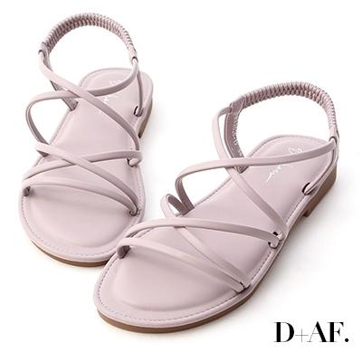 D+AF 美好假期.交叉細帶超軟Q底涼鞋*紫