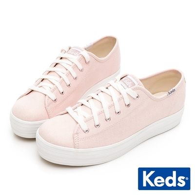 Keds TRIPLE KICK 奢華金絲帆布休閒鞋-玫瑰金